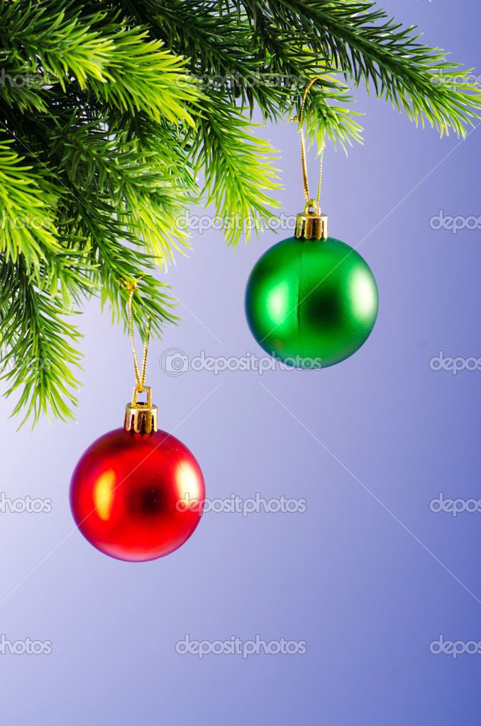 Baubles on christmas tree in celebration concept — Stock Photo #7374500