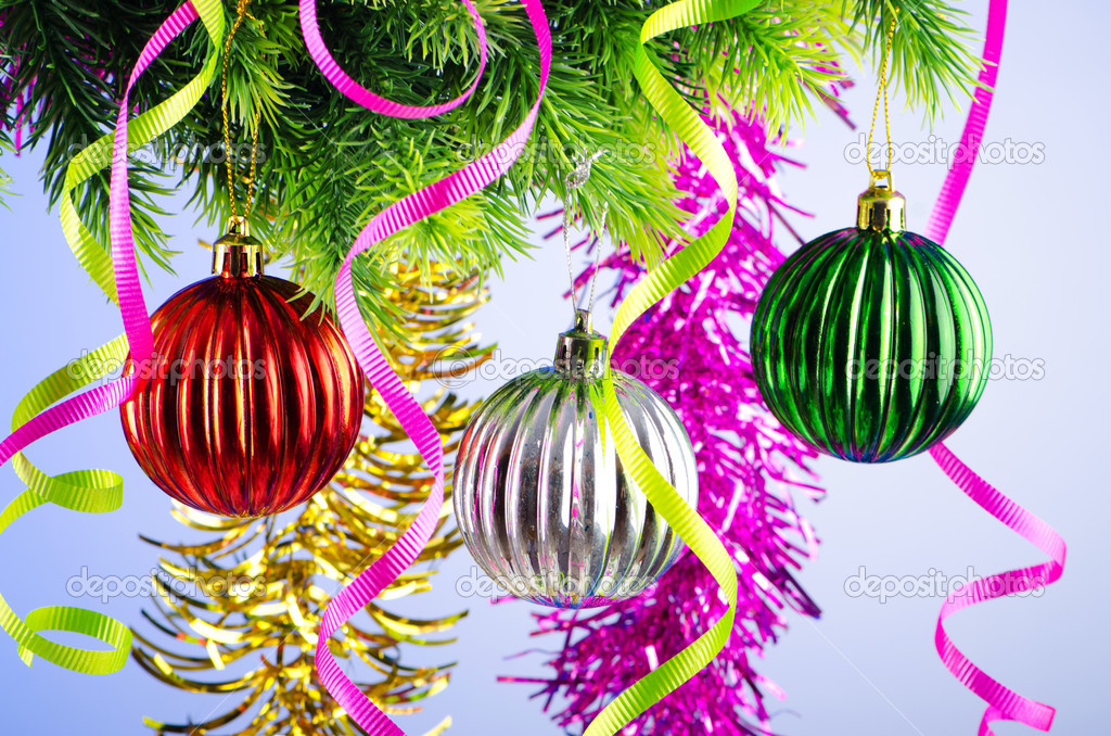 Baubles on christmas tree in celebration concept — Stock Photo #7374525