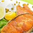 Roasted salmon in the plate — Stock Photo #7380851