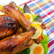Roasted turkey on the festive table - 
