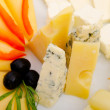 Cheese platter with selection — Stock Photo