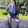 Young businessman at the street scene — Stock Photo #7385186