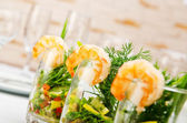 Prawns served in glasses — Stock Photo