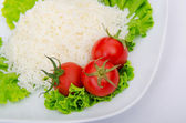 Plain rice served in the plate — Foto Stock