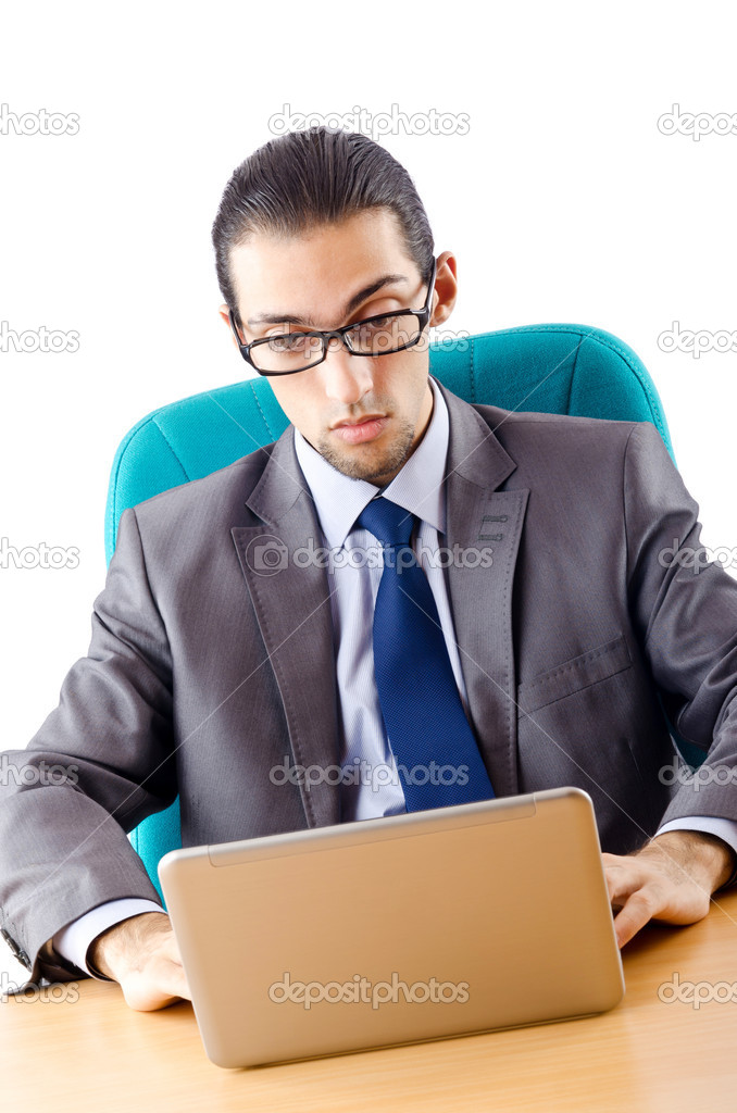 Businessman sitting at the desk — Stockfoto #7383293