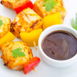 Stock Photo: Plate with chicken kebab piecies