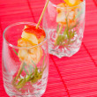 Glasses with king prawns - Stock Photo
