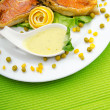 Roasted salmon in the plate — Stock Photo #7519257