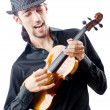 Violin player isolated on white — Stock Photo