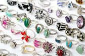 Selection of many precious rings — Stock Photo