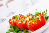 Tomatoes stuffed with russian salad — 图库照片