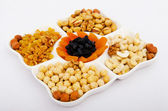 Nut selection served in the plate — Stock Photo