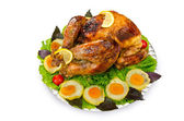 Roasted turkey on the festive table — Stock Photo