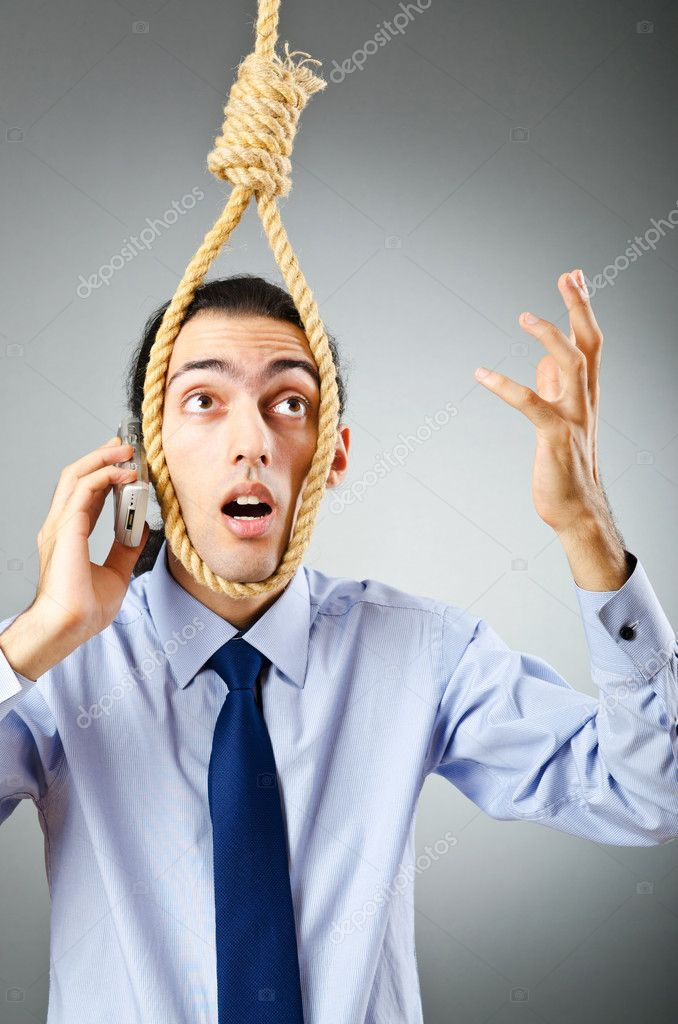 Businessman with thoughts of suicide — Stock Photo #7517453