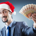 Santa with euro banknotes — Stock Photo #7521279