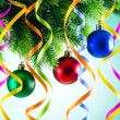 Baubles on christmas tree in celebration concept — 图库照片