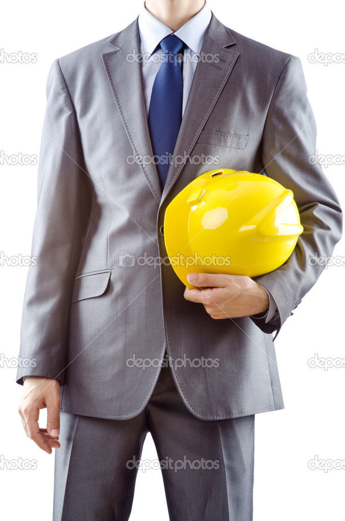 Man with hard hat on white — Stock Photo #7520114