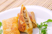 Tortitas de carne servidos en el plato — Foto de Stock