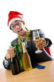 Drunk office worker after christmas party — Stock Photo