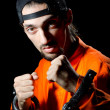 Inmate chained on black background — Stock Photo #7549173
