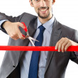 Businessman crossing finish line — Stock Photo #7549175