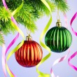 Baubles on christmas tree in celebration concept — Stock Photo #7549950