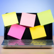 Stock Photo: Netbook with reminder notes