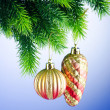 Baubles on christmas tree in celebration concept — Stock Photo #7551701