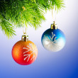 Baubles on christmas tree in celebration concept — Stock Photo #7551704
