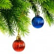 Christmas concept with baubles on white - Foto Stock