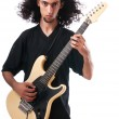 Guitar player isolated on the white background — Stok fotoğraf