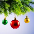 Baubles on christmas tree in celebration concept - Foto de Stock