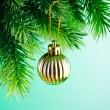 Baubles on christmas tree in celebration concept - Foto Stock