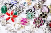 Selection of many precious rings — Stock Photo