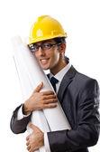 Mladý architekt s výkresy izolovaných na bílém — Stock fotografie