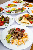 Meals served on a party table — Stock Photo