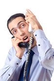 Angry businessman on the phone — Stock Photo
