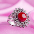 Jewellery ring on the satin background — Stock Photo #7869126