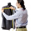 Tailor working isolated on white - Stock Photo