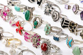 Selection of many precious rings — Photo