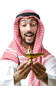 Young arab with lamp — Stock Photo