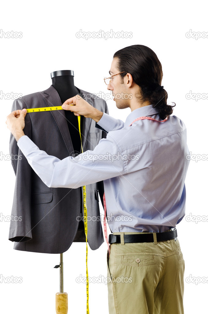 Tailor working isolated on white — Stock Photo #7874352