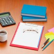 Stock Photo: Desk top with many items