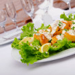 Ceasar salad served in the plate — Stock Photo