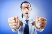 Businessman handcuffed for his crimes — Stock Photo