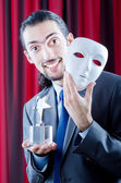 Man receiving award in mask — Stock Photo