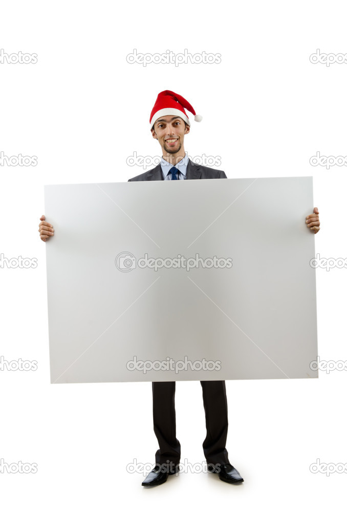 Businessman in santa hat with blank message — Stock Photo #7884723