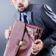 Stock Photo: Business spy with briefcase