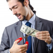 Mcutting money on white — Stock Photo #7896592