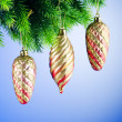 Baubles on christmas tree in celebration concept - Stock fotografie